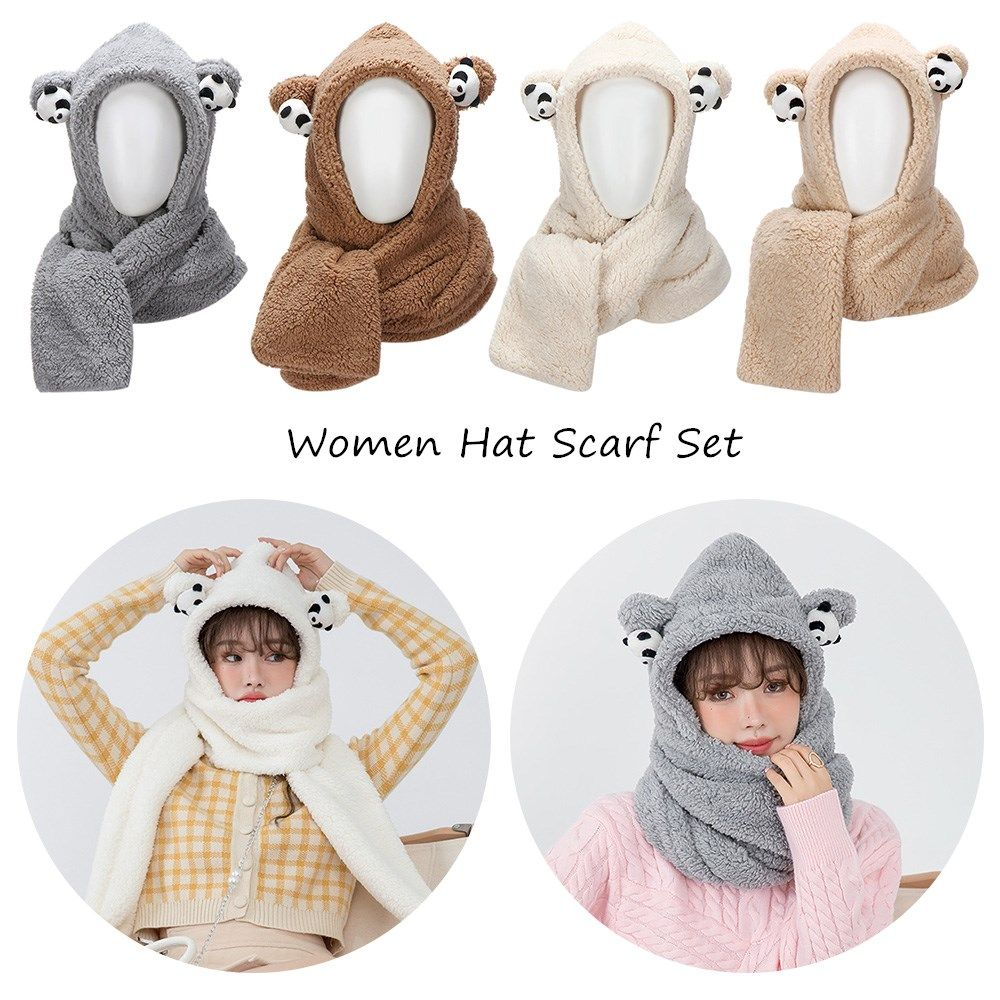 Fashion Warm Novelty Plush Women Caps Beanies Caps Bear Ear Hat Hat Scarf Set