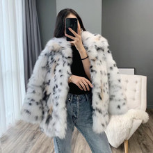Real fox fur coat 2019 winter coat women elegant leather jacket with leopard print luxury clothes womens tops and blouses(China)