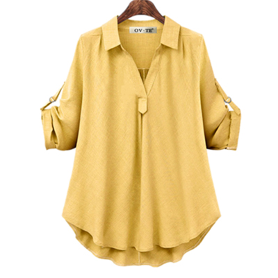 Женские рубашки размера плюс 4XL, Европейский стиль, женские рубашки, весна-лето, свободная блузка с длинным рукавом, топы, брендовая офисная одежда для женщин, Новинка - Цвет: Yellow