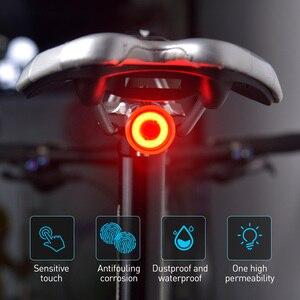 Image 1 - Fahrrad Touch Smart Sensor Rücklicht Bremse Vibration Induktion Bike Hinten Licht USB Schnelle Ladung MTB Road Fahrrad Schwanz Licht