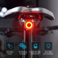 Rowerowy dotykowy inteligentny czujnik Taillight hamulec wibracyjny indukcyjny rower tylne światło USB szybki ładunek MTB Road rowerowe światło tylne