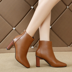 Image 3 - Winter 2019 new Korean version of Joker simple square short boots ring zipper solid color thick heels womens Martins boots
