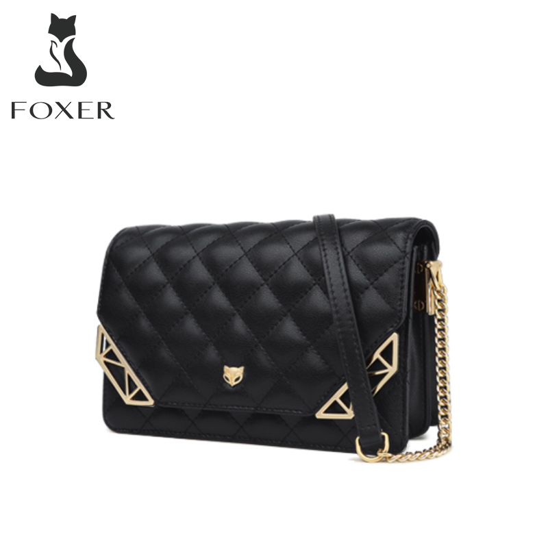 FOXER Female Diamond Lattice Shoulder Bag Minimalist Cowhide Lady Crossbody Bag Women Chic Message Bag Valentine's Day Present