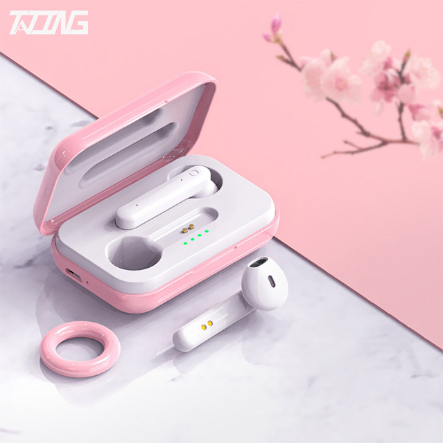 TATING Hifi Lady Wireless Headphones Charging Box Earphones Bluetooth 5.0 Mini 9D Girls Stereo Earbuds Headsets With Microphone