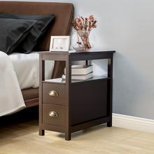 Side Table with 2 Drawers End Table Bedside Table Storage Shelves Double Tier Living Room Bedroom MDF Board Home furniture giantex wood night stand 2 tiers 1 drawer bedside end table bedroom furniture organizer storage basket nightstands w key hw56352