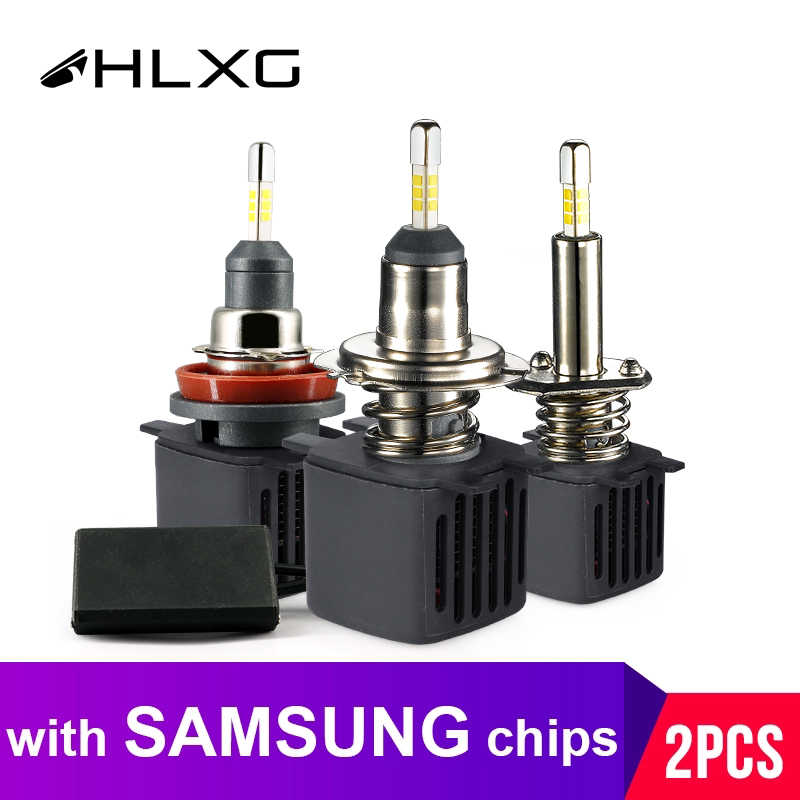 hlxg With SAMSUNG CSP Chip H4 Led H7 4 Sides 9005 HB3 LED H11 H8 H1 Bulb Car lights 10000LM 6500k Fog Lights led Automotivo 12V