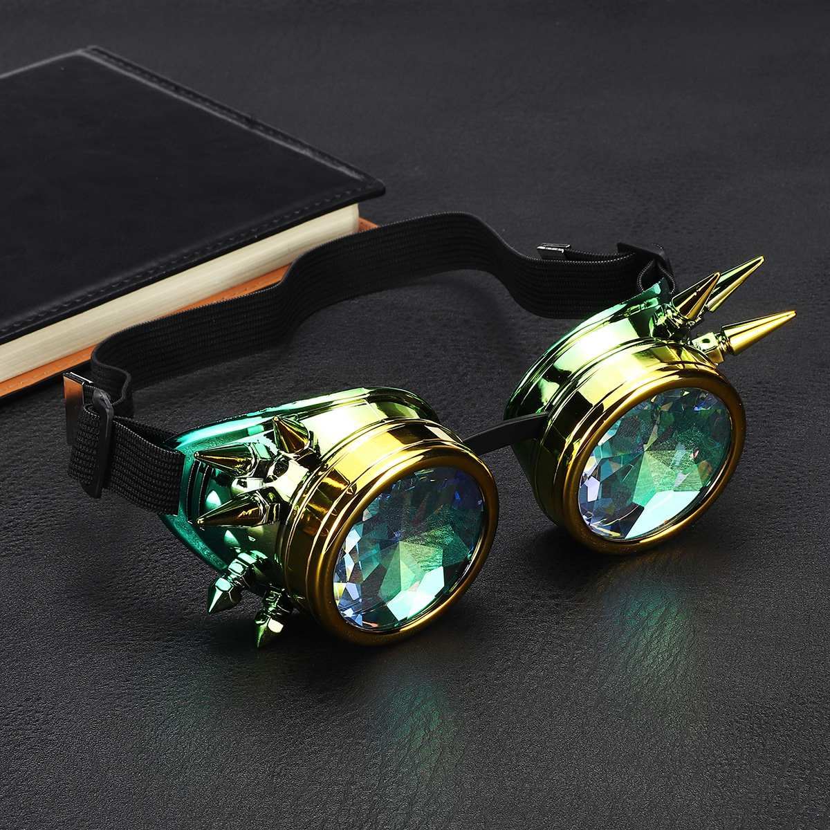 Retro Kaleidoscope Goggles Welding Rivet Punk Gothic Rave Halloween Rainbow Glasses EDM Sunglasses Diffracted <font><b>Lens</b></font> image