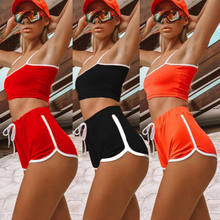 Mode Heiße Frauen Sexy Patchwork Yoga Anzug Workout Sport String Weste Shorts Bodycon Outfit Damen Lauf Sport Gym Kleidung Set(China)