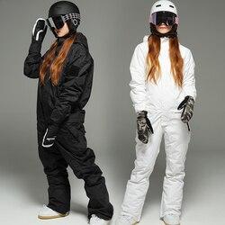Новый женский комбинезон для сноуборда, водонепроницаемая верхняя одежда, высококачественный лыжный костюм для мужчин и женщин, лыжные кур...