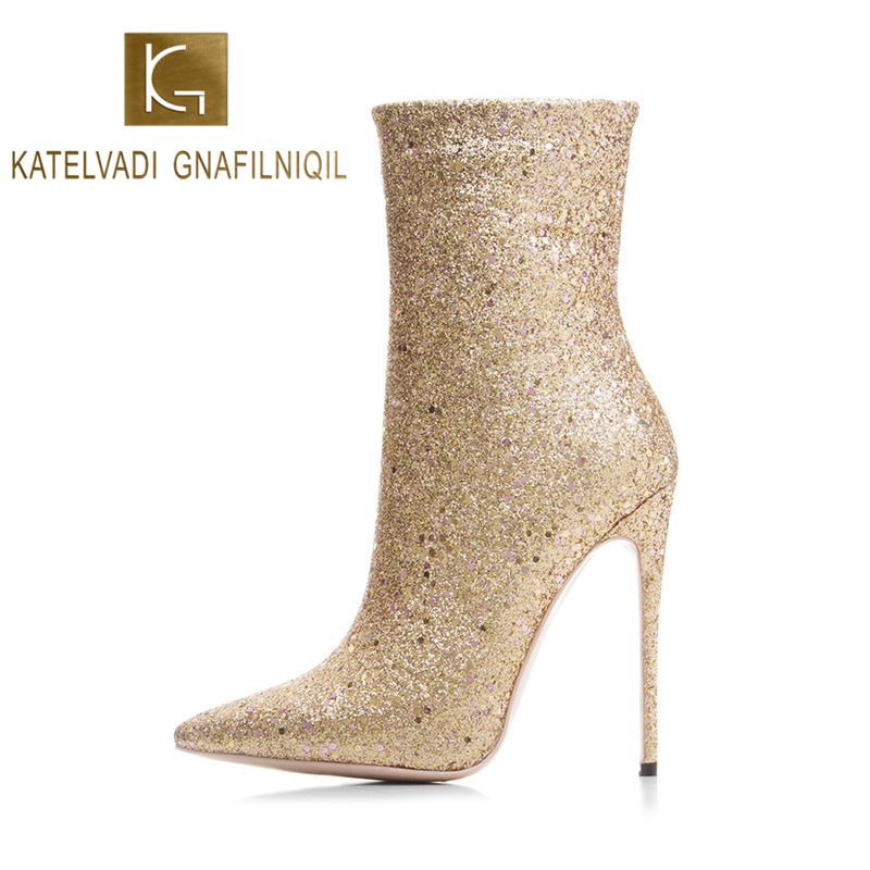 KATELVADI Brand Fashion Women Boots Sexy High Heels 5Inches Gelitter Gold Ankle boots for Winter And Autumn Woman Shoes K-566