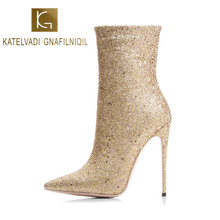 KATELVADI Brand Fashion Women Boots Sexy High Heels 5Inches Gelitter Gold Ankle boots for Winter And Autumn Woman Shoes K-566(China)