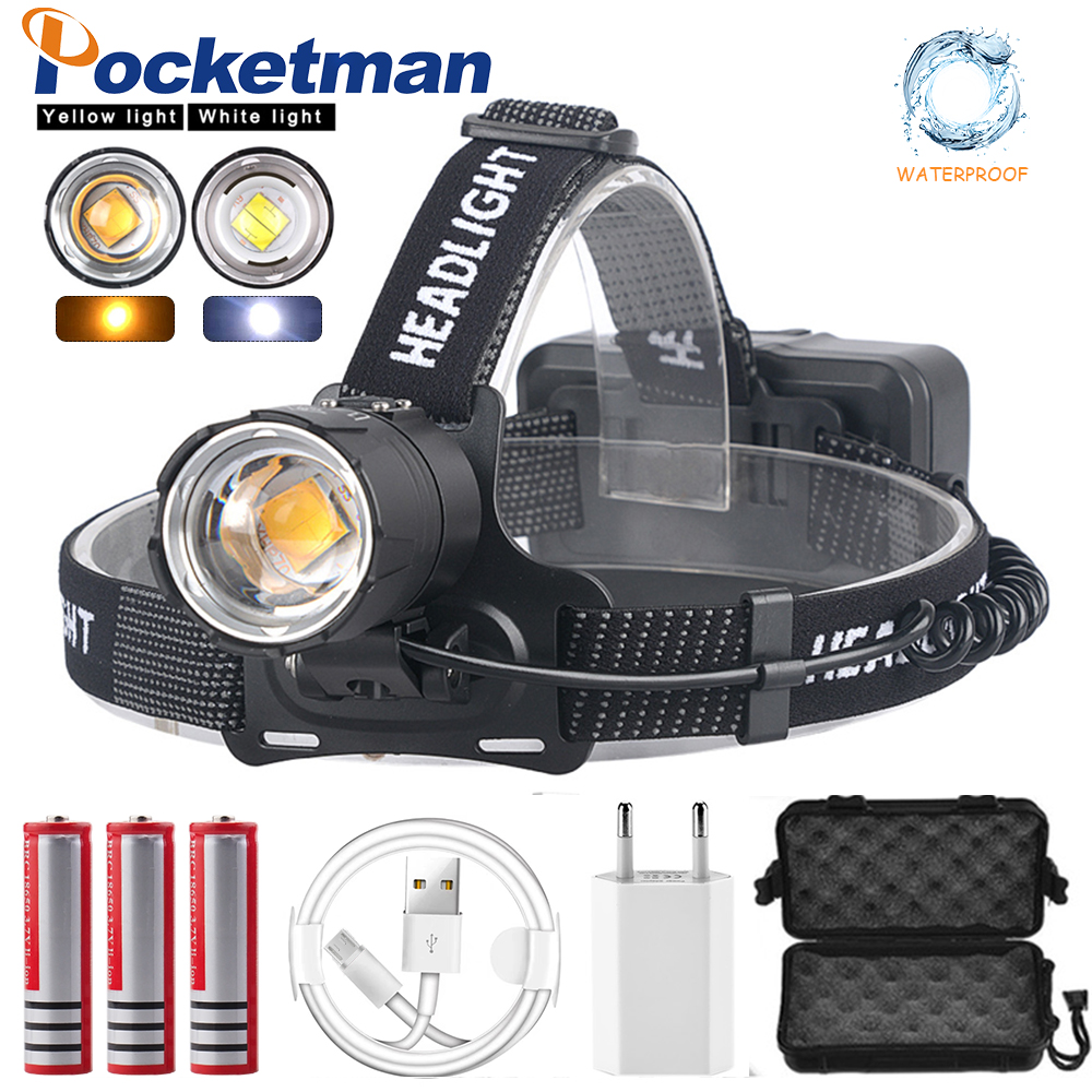 7000LM XHP70.2 Led Headlamp XHP70 Most Powerful Yellow or White Led Headlight Fishing Camping ZOOM Torch Use 3*18650 batteries|Headlamps| |  - title=