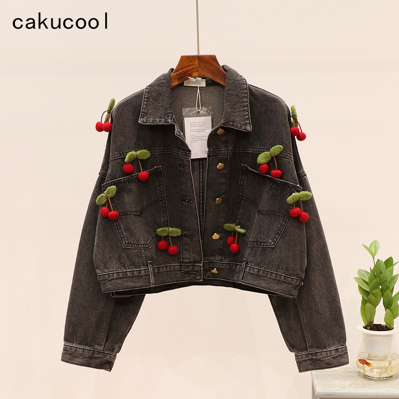 Cakucool New Black Denim Jacket Women's Jeans Korean Short Jeans Cherry Batwing Jacket Loose Casual Girls Outerwear Casaco Femme image