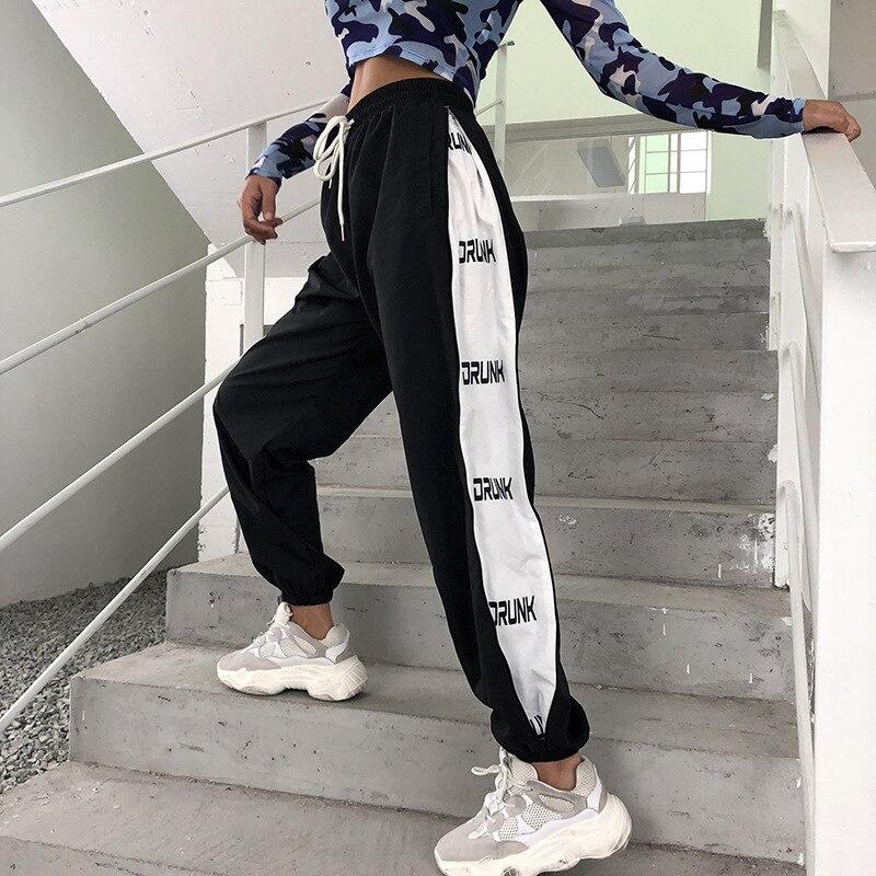 HOUZHOU Sweatpants Women Panelled Hip Hop Pants Women Joggers High Waist Trousers Women Print Loose Harem Pants Streetwear