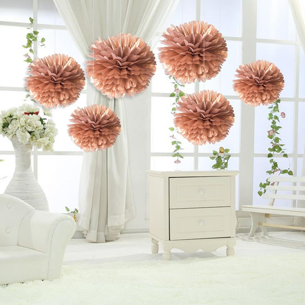 6pcs 25cm Decorative Tissue Paper Rose Gold Pom Pom Flowers Wedding Decoration Home Birthday Baby Shower Event Party Supplies