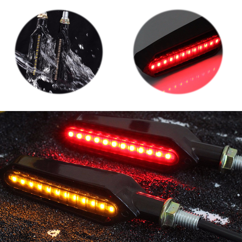 4PCS Universal Motorcycle Turn Signal Flowing Water Flashing Light LED Red Tail Brake Lamp White DRL Indicators Blinkers Flicker