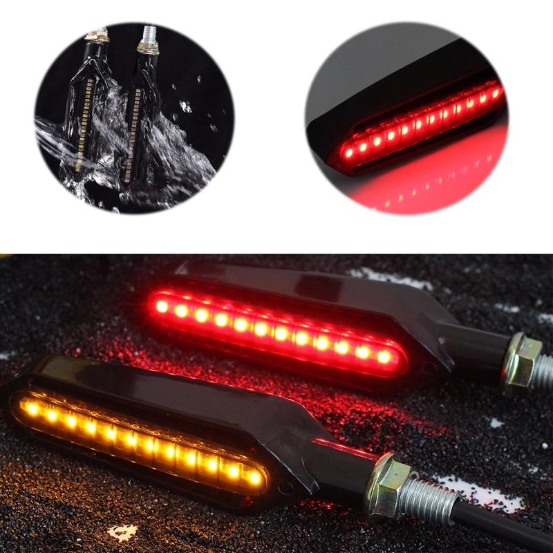 4PCS Universal Motorcycle Turn Signal Flowing Water Flashing Light LED Red Tail Brake Lamp White DRL Indicators Blinkers Flicker