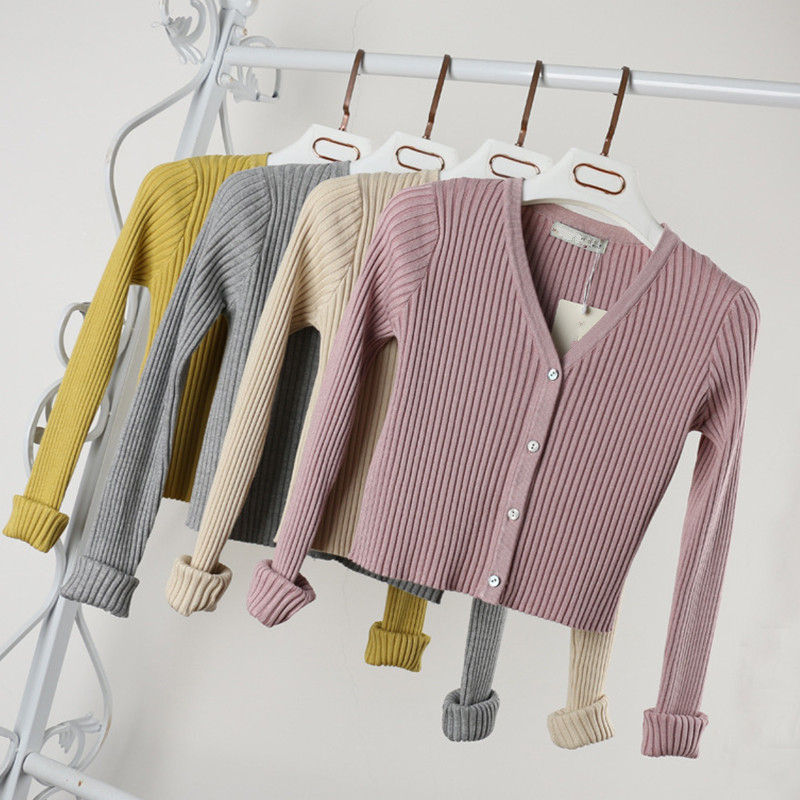 PEONFLY Sexy Buttons Knitted Sweater Cardigan Women Slim Ribbed  Sweaters Female Fashion Plus Size Knitwear 2020 Winter Autumn