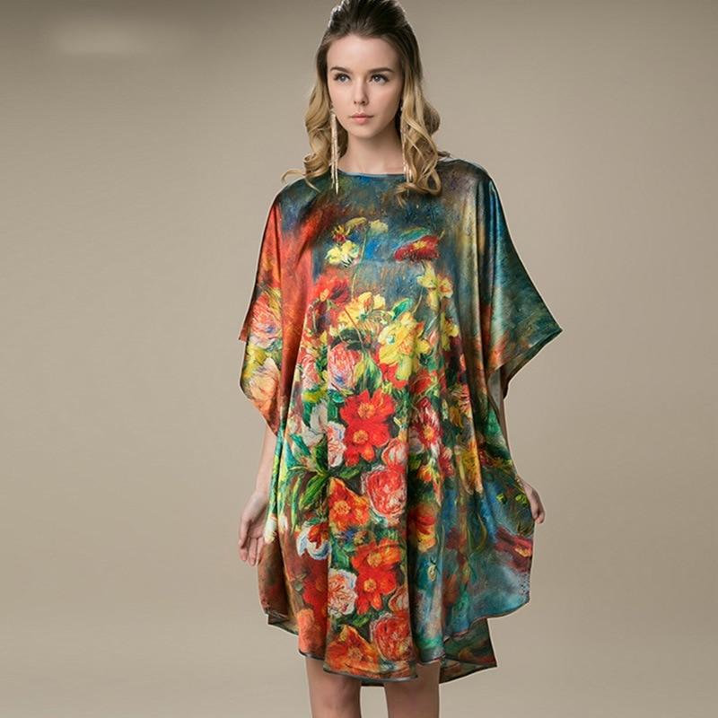 One Size Summer Women's Silk Flower Nigh Robe Black Lady Bath Gown Nightgown Bathrobe Sleepwear Mujer Pijama