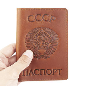Business-Card-Holder Passport-Cover Credit-Card CCCP Federation Russian Genuine-Leather