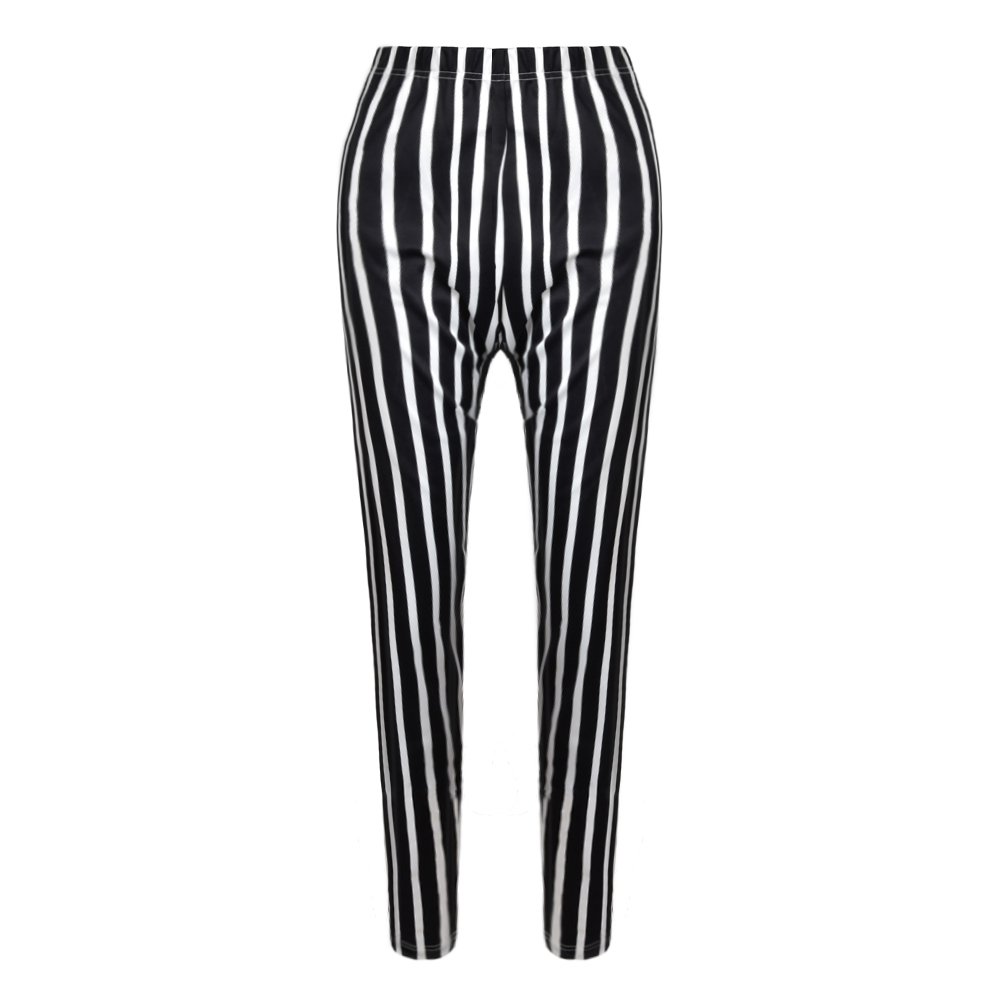 Women High Waist Striped Legging Plus Size Stretchy Ladies Sports Legging Ankle-Length Black And White Stripes Trousers 5XL D30