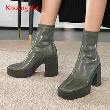 Ankle-Boots Platform Krazing-Pot Square Toe High-Heel Thick-Bottom Super Nightclub Slip-On
