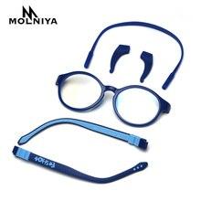 Анти-голубые легкие силиконовые детские прозрачные очки для девочек и мальчиков гибкий круглый оправа для детских очков оправы для очков