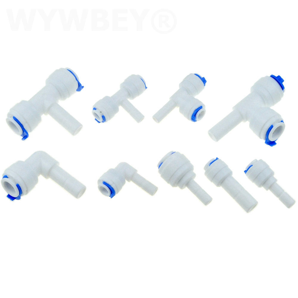 Reverse Osmosis 1/4 3/8 Hose Connection Quick Coupling 1/4 3/8 Stem L Straight Tee RO Water Aquarium Plastic Joint Pipe Fitting