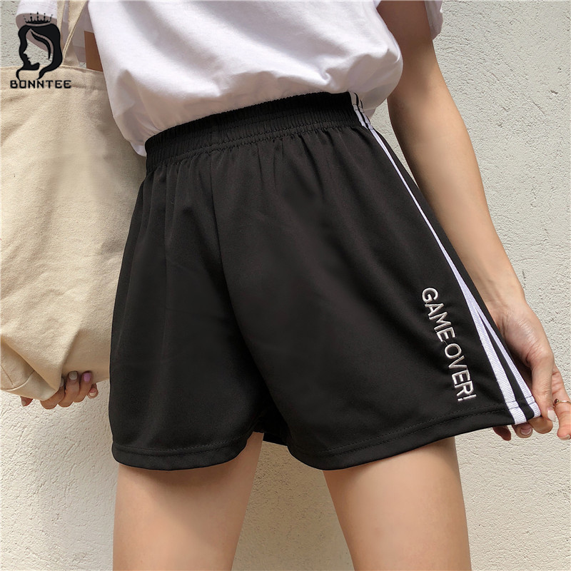 Shorts Harajuku Letter Embroidery Sweet Loose Striped Elastic Waist Women Short Womens Pockets Summer Korean Style Sweet Ladies