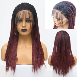 RONGDUOYI Long Two Tone Burgundy Braided Synthetic Wig Ombre Red Heat Resistant Hair Lace Front Braids Wigs for Women Baby Hair