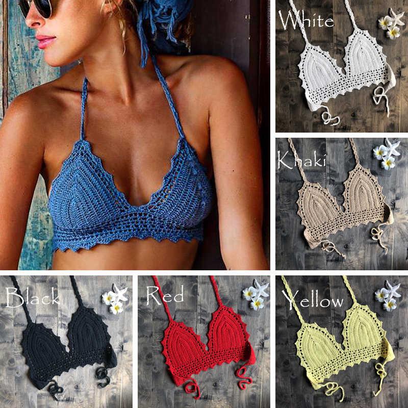 2019 Baru Pantai Crochet Bikini Atasan Musim Panas Baju Renang Top Bulan Madu Hippy Bra Kolam Renang Spa Yacht Surf Bikini