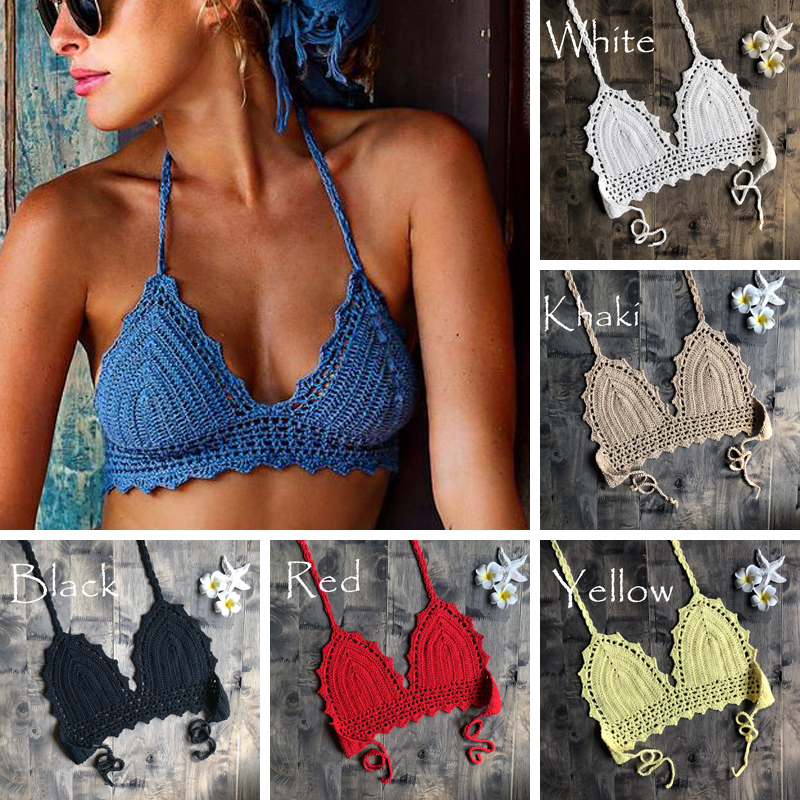 2019 New Beach Crochet Bikini Tops Summer Swimwear Top Honeymoon Hippy Bra Swimming Pools Spas Yacht Surf Bikini