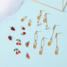 10pcs Cute Fruit Enamel Charms Alloy Cherry Watermelon Strawberry Pendants Earrings Finding DIY Jewelry Accessories Craft FX096 недорого
