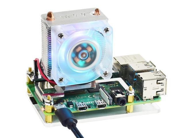 Torre de gelo waveshare, ventilador de refrigeração para raspberry pi, dissipação de calor super, suporte tanto raspberry pi 4 & 3