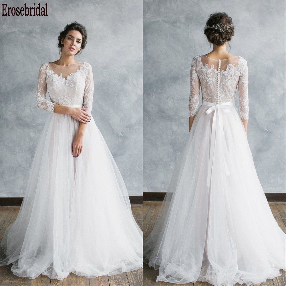 3/4 Sleeve Beach Wedding Dress 2020 Elegant Scoop Neck Lace Body A Line Wedding Dress Plus Size Small Train Button Back