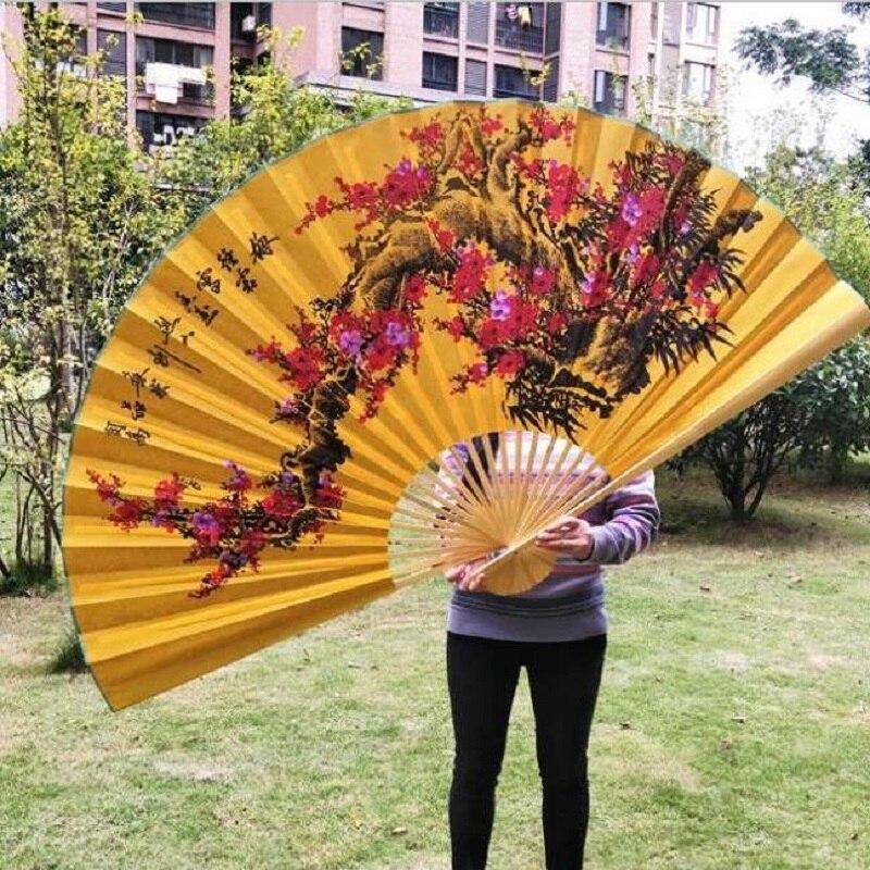 Handmade Hanging Fan Decorative Fan Chinese Style Craft Silk Cloth Fan Large Folding Fan Living 3