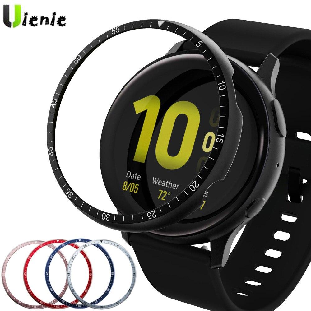 Ободковое кольцо для Samsung Galaxy Watch active 2 40 мм 44 мм, защитный чехол, спортивный клейкий металлический бампер, аксессуары для Active2 40 мм