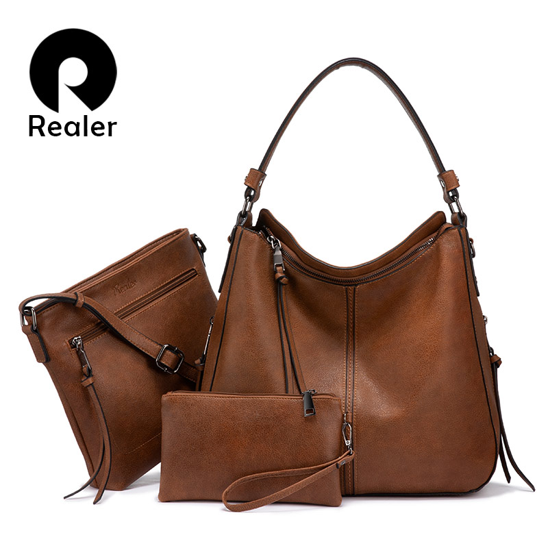 Realer Bag Set Women Handbag Luxury Designer Crossbody Shoulder Bag Female Purse PU Leather For Ladies Totes Large Capacity
