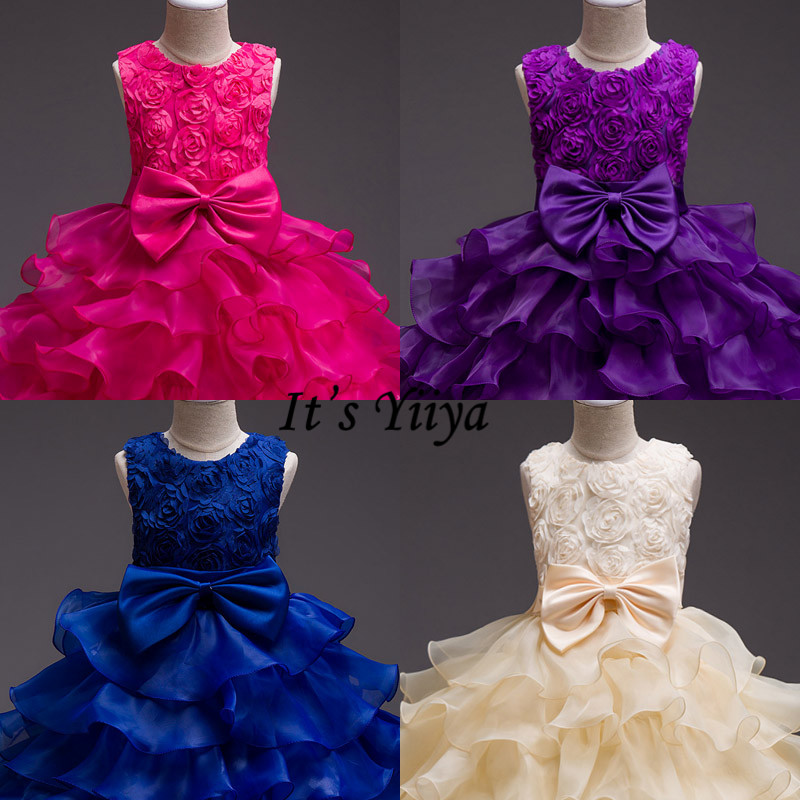 It's YiiYa Flower Girl Dress Big Bow Girls Pageant Dresses For Party And Wedding Tiered Tank Vestidos De Noches Para Ninas 559