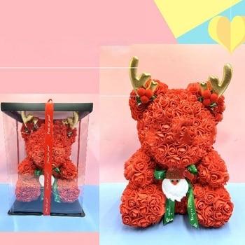 40cm Oso de Navidad flores de Rosa artificiales PE oso Rosa astas oso rosa para San Valentín/boda/regalo de Navidad-Promoción