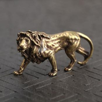 Mini Bronze Majestic Lion King Desk Decorations Vintage Brass Animal Statue Home Decor Ornaments Figurines