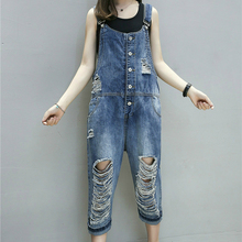 Spring Summer Women Jeans Jumpsuit 2020 Vintage Loose Denim Rompers Casual Ripped Hole Straight Denim Overalls Playsuit