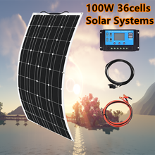 200w solar panel kit complete12v fleixble 100w solar charger 12v battery solar cell for car boat RV caravan home 1000w system