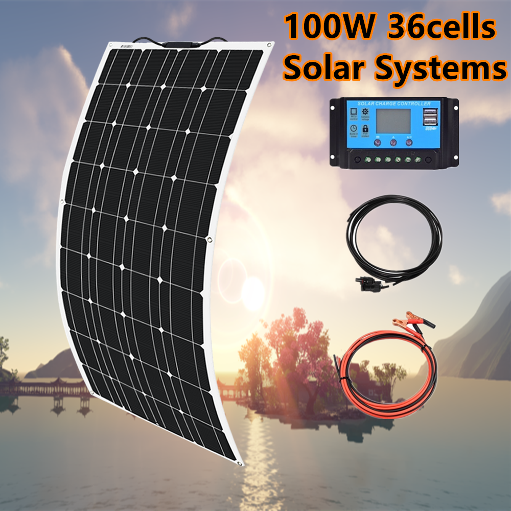 Xinpuguang 200w <font><b>Solar</b></font> <font><b>Panel</b></font> System 2X 100W Flexible <font><b>solar</b></font> <font><b>panel</b></font> <font><b>100</b></font> <font><b>w</b></font> 12 volt 24 v Controller Photovoltaic wholesale pricing image