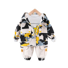 New Spring Autumn Baby Girl Clothes Suit Children Kids Boys Cotton Hooded Jacket T Shirt Pants 3Pcs/set Toddler Fashion Clothing tender babies baby girl clothing 3pcs set quilted jacquard hooded gilet and legging with rib cuff and soft printed floral t shir