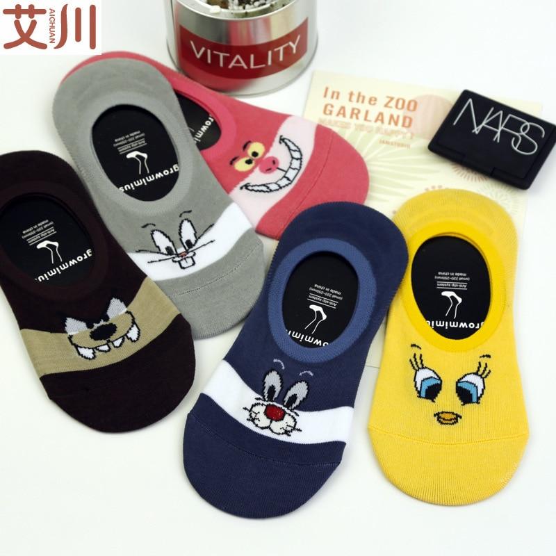 10pcs 5 Pairs Women Boat Socks  Casual Cotton Funny Animals for Female Cute Kawaii Girls Summer Cartoon Thin