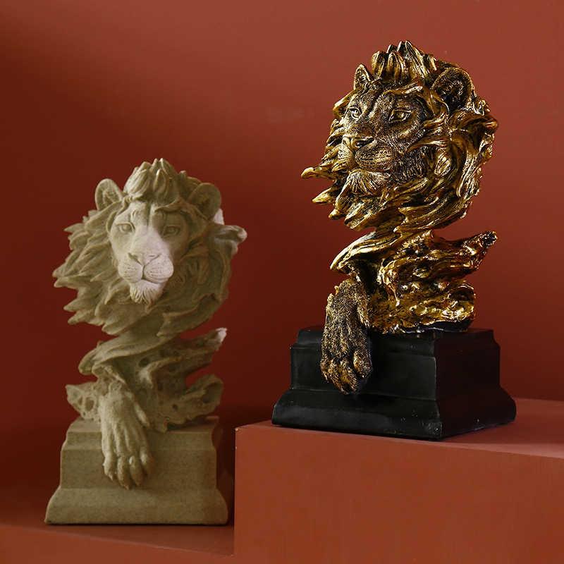 מופשט יצירתי האריה ראש מיניאטורי דגם שרף פיסול מלאכות עיצוב הבית אביזרי מתנת שולחן קישוט קישוטים