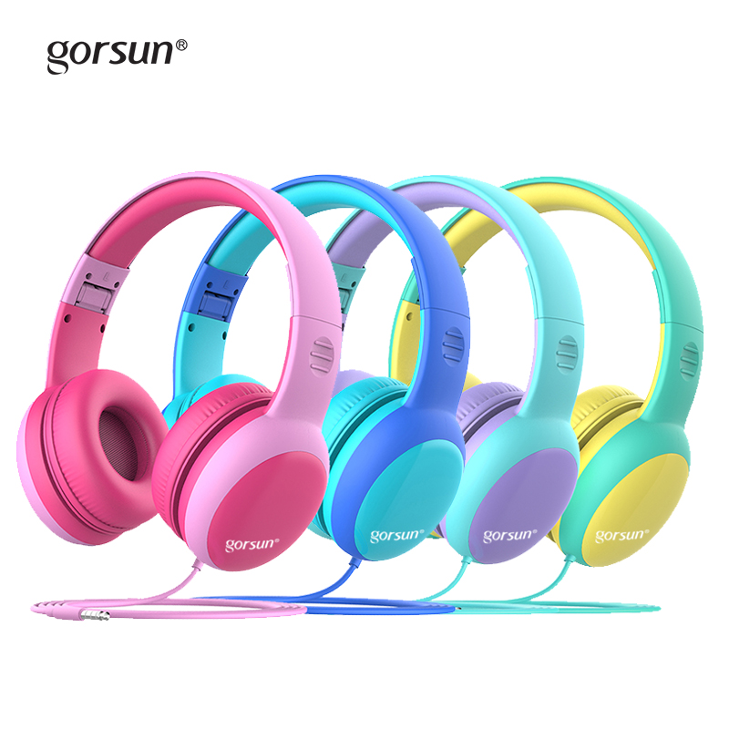 Gorsun Kids Headphones with limited volume Children Headphone with decorative ears Ear  for boys and girls Wired Headset