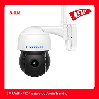 SNOSECURE 3MP PTZ 4X Zoom Wifi IP Camera Auto Tracking ONVIF Security CCTV Camera Audio AI Human Detection Outdoor Wireless Cam