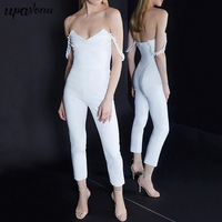 2019 New Sexy V Neckline Backless Off Shoulder Strapless Jumpsuit Summer Women Causal Outfit Runway With Skinny Pants